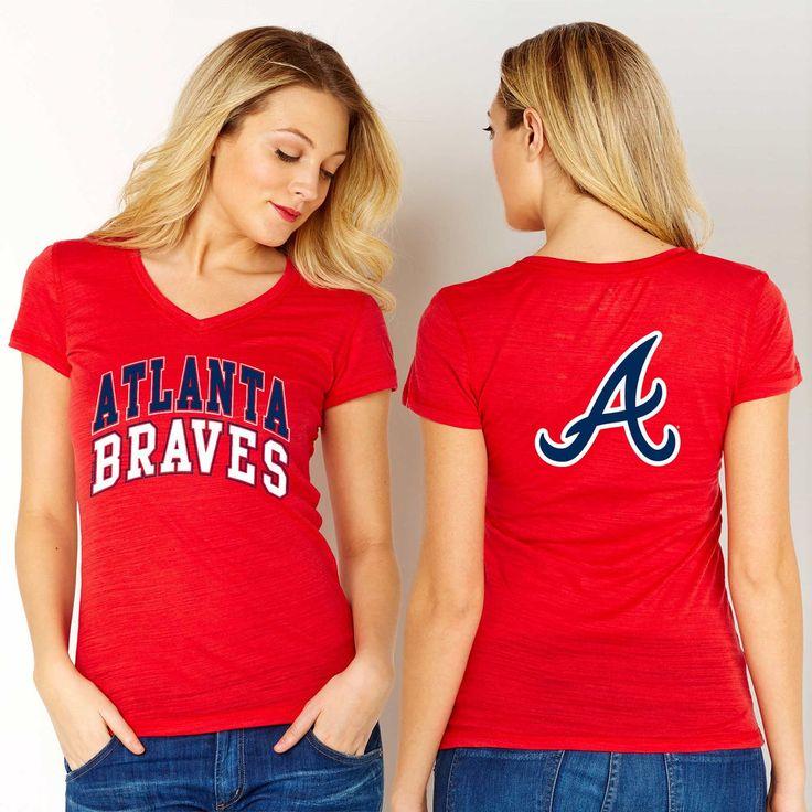 Atlanta Braves Women's Red Double Play V-Neck T-Shirt