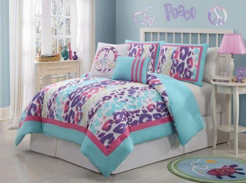 Girls kids blue purple pink white animal print bedding comforter set