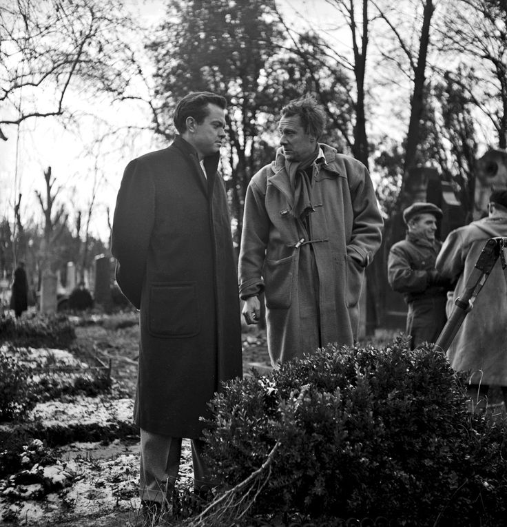 Orson Welles and Director Carol Reed on the set of The Third Man.