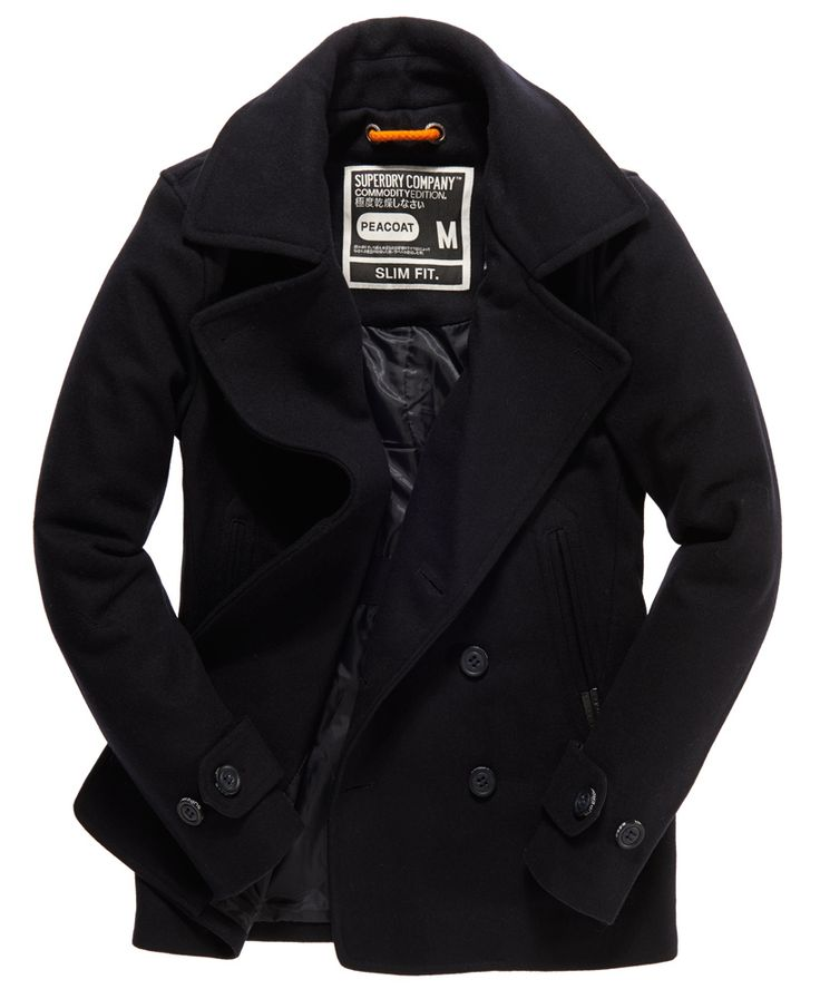 Men's Fashion: Superdry Commodity Slim Pea Coat #jacket #coat #black