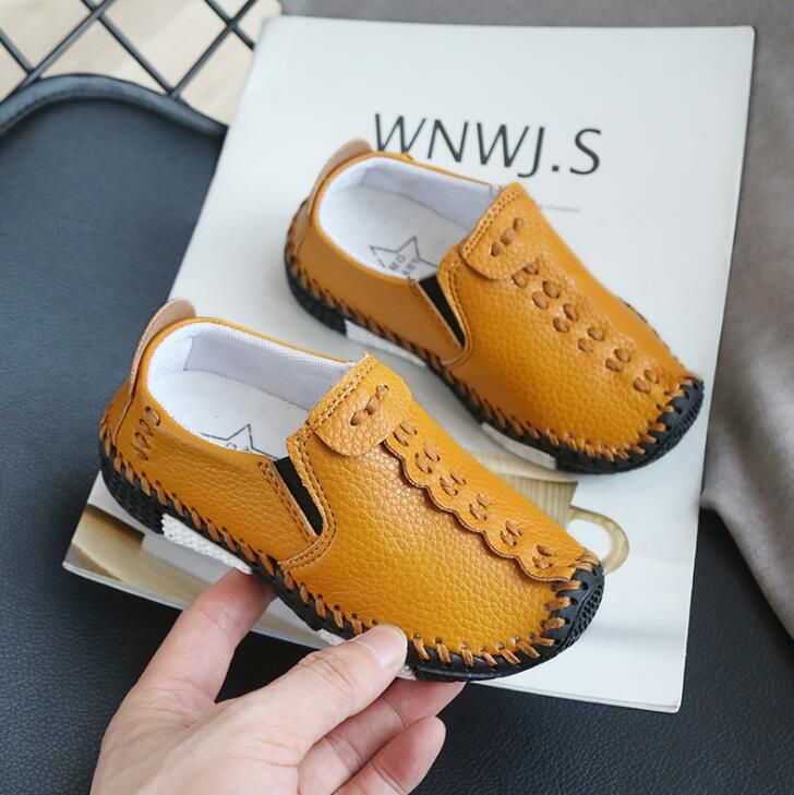 UK Kids Boys Girls Leather Slip On Flat Loafers Moccasins Casual Boat Shoes Size