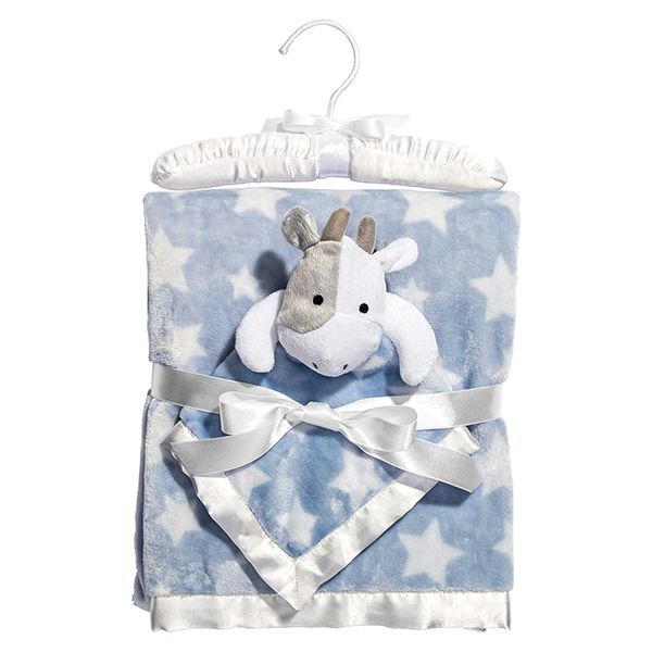"""Mom will not have to sing, """"hush little baby"""" for too long with this blanket snuggling baby and soon, he and his plush little cow will be jumping over the moon in dreamland. 