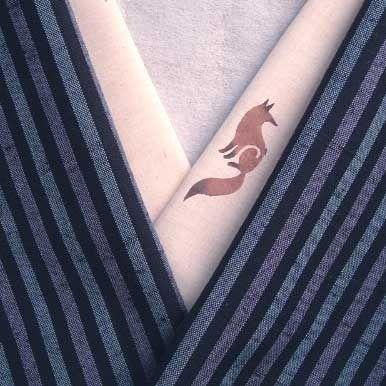 オーガニックコットン半襟・きつね by tsukeobi ファッション 和装