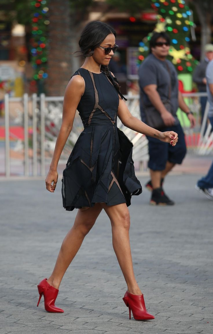 zoe-saldana-stylechi-best-looks-sleeveless-sheer-panel-deep-blue-charcoal-black-puff-out-mini-dress-sunglasses-plait-red-shoe-boots.jpg (242...