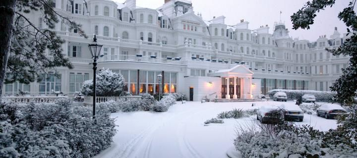 The stunning Grand Hotel, Eastbourne, UK after a Christmas snowfall | http://www.simplyhoteljobs.com/recruiters/the-grand-hotel-eastbourne