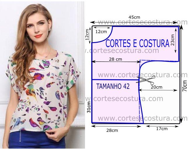 Tenha em atenção que o desenho do molde de blusa estampada não tem valor de costura tem que ser acrescentado. Apenas os moldes que são para...