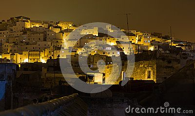 Houses on the mountain slope in royal town Tetouan near Tangier, Morocco