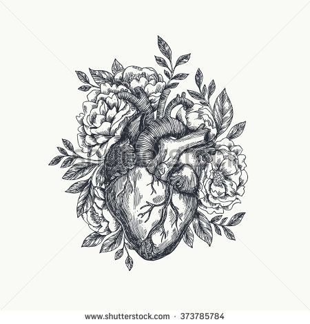 Valentines day card. Anatomical heart with flowers. Vector illustration