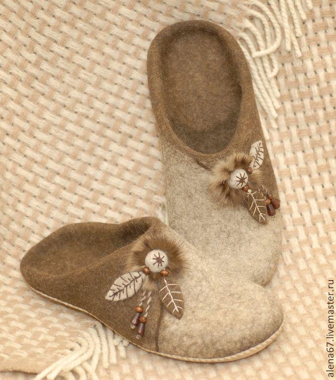 ♡ Купить тапочки валяные - коричневый, тапочки домашние, тапочки из шерсти, обувь ручной работы