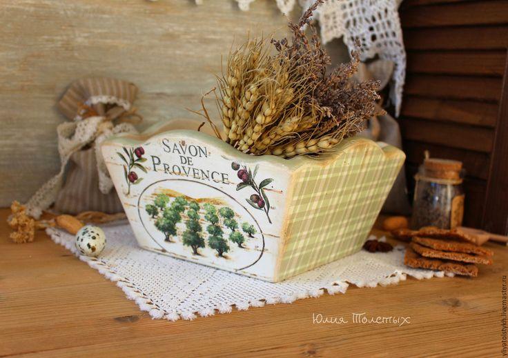 """Купить Сухарница """"Provence"""" - оливковый, сухарница декупаж, оливы, прованский стиль, интерьер в стиле кантри"""