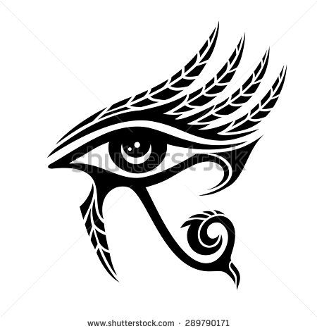 Horus eye, ancient egypt, falcon god, feathers - stock vector