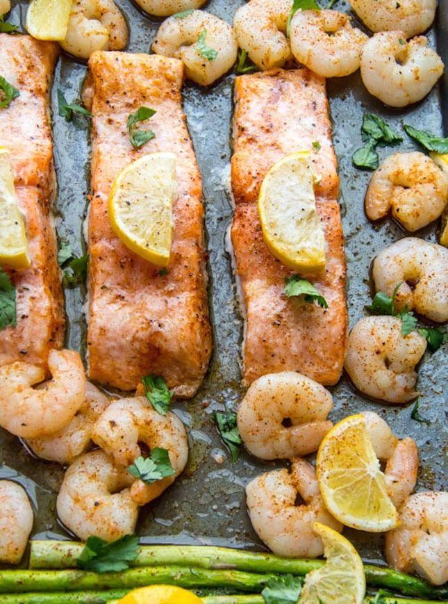 Baked Salmon, Shrimp and Asparagus recipe.