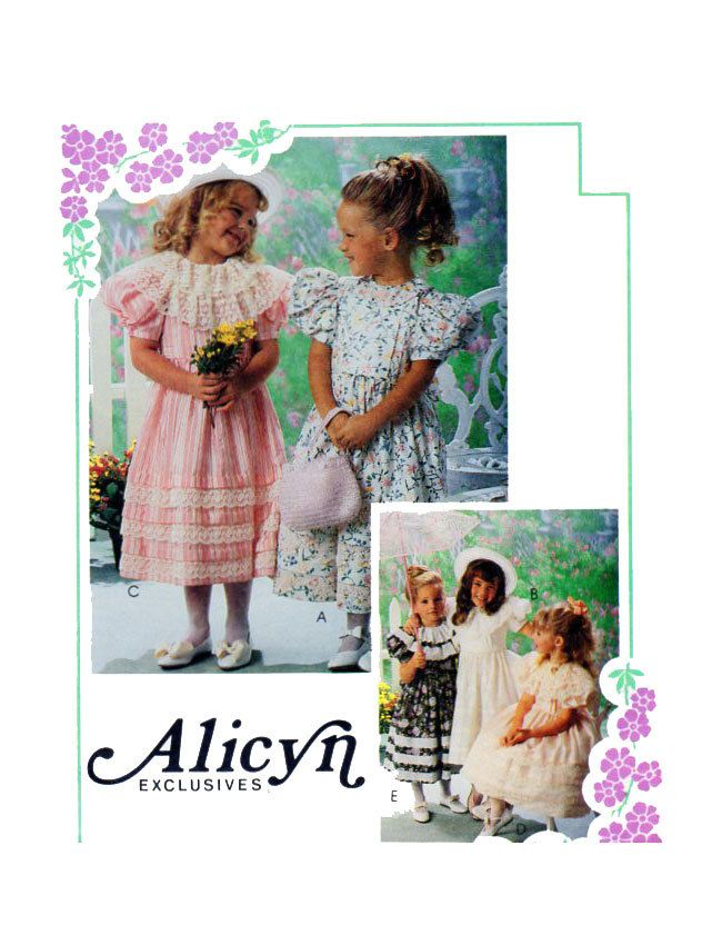 ALICYN EXCLUSIVES Girls Fancy Dress McCalls 5827 Size 5 Sewing Pattern Full Skirt Puff Sleeves Collar Options Lace Ribbon- Flower Girl UNCUT by FindCraftyPatterns on Etsy