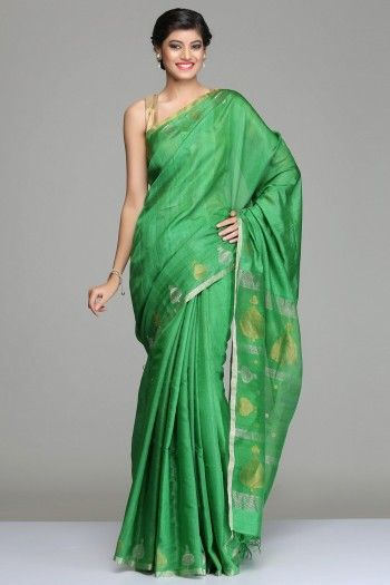 Green Tussar Silk Saree With Silver Zari And Gold Zari Border And Betel Leaves Motif On The Pallu