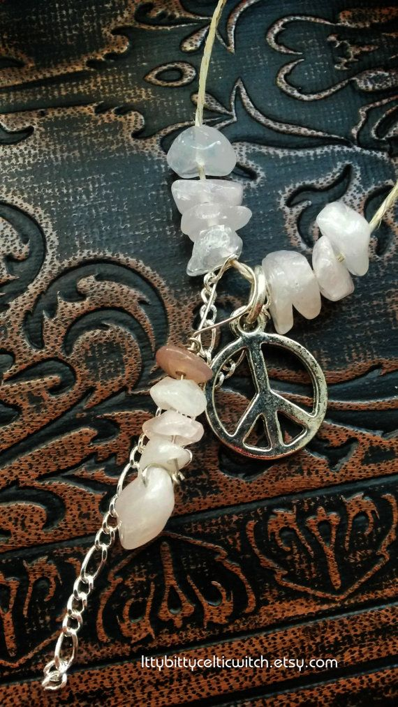 "Magic ""Rose Quartz Necklace"" for Peace & Crystal Healing with Hemp Necklace Cord, Pagan Witchcraft Jewelry, Metaphysical Necklace"