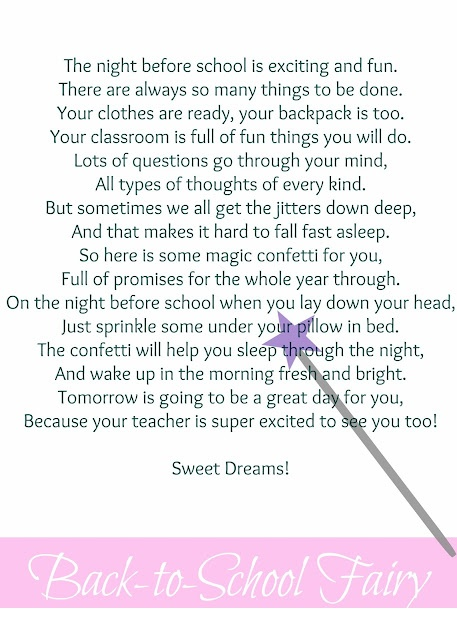 {Back-to-School Fairy} Cute back to school tradition with printable.