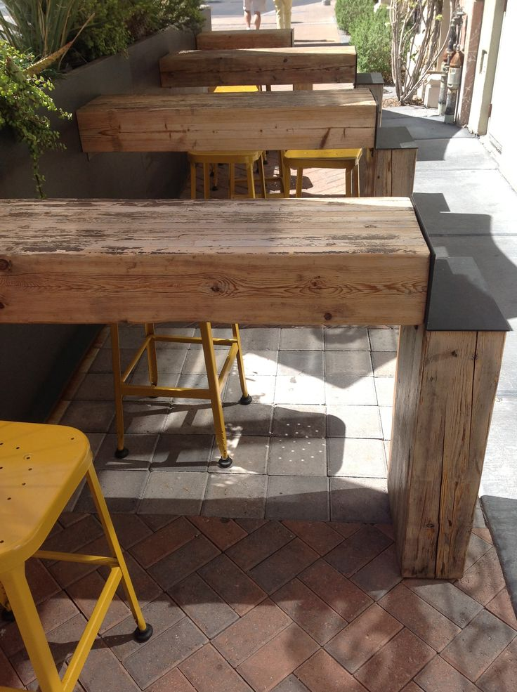For beer garden. I love the repurposed use of the wood blocks. Cute stools too.