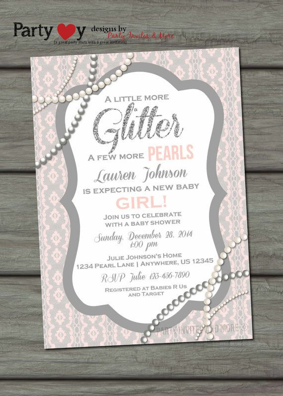 Pearls and Lace Baby Shower Invitation by PartyInvitesAndMore