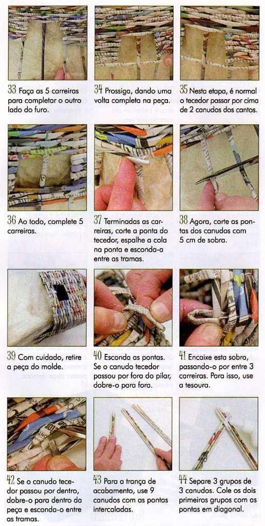 """......."""""""" Cassia's Blog """""""": Organizador em cestaria com jornal"""