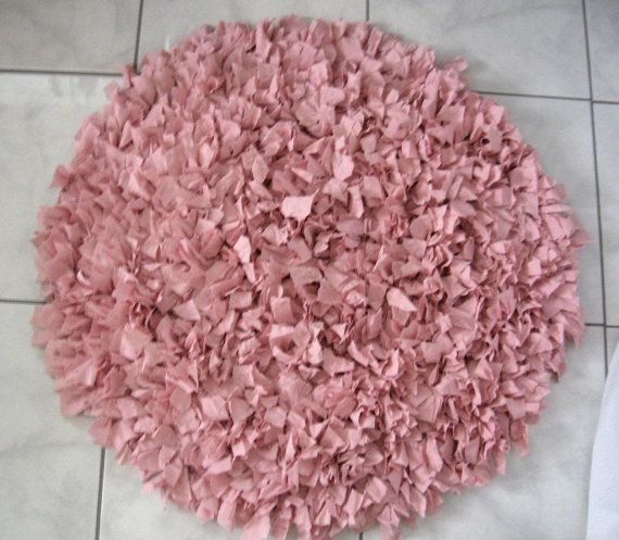 OOAK Hand Crochet Shag Rag Rug, Pink Shag Rug, Round Handmade Rug, Upcycled