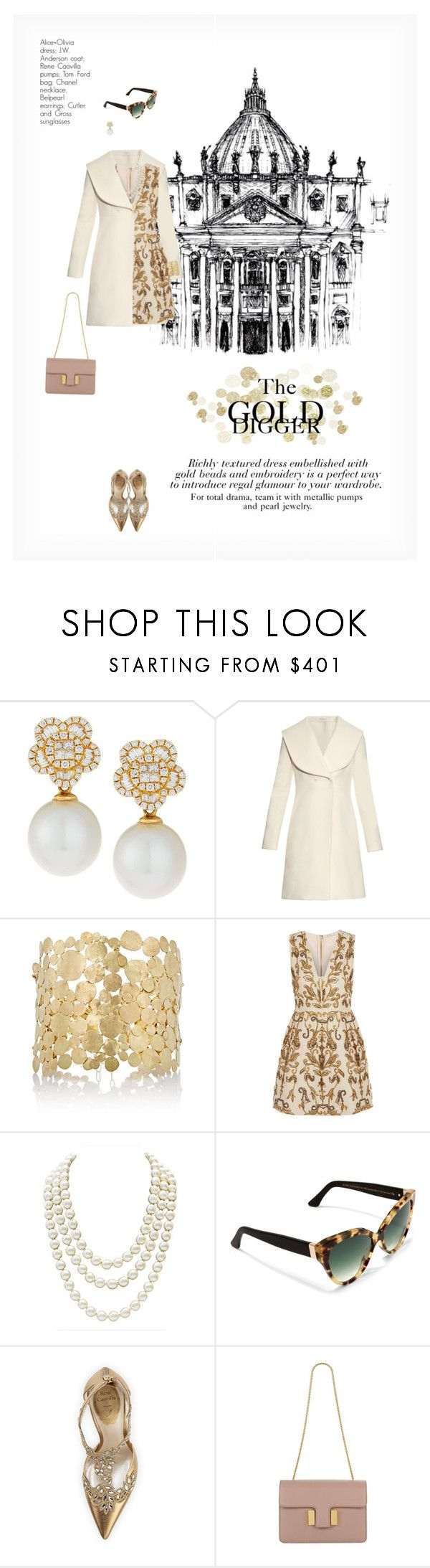"""""""THE GOLD DIGGER"""" by paint-it-black ❤ liked on Polyvore featuring Belpearl, J.W. Anderson, Judy Geib, Alice + Olivia, Chanel, Cutler and Gross, René Caovilla, Tom Ford, gold and classy"""