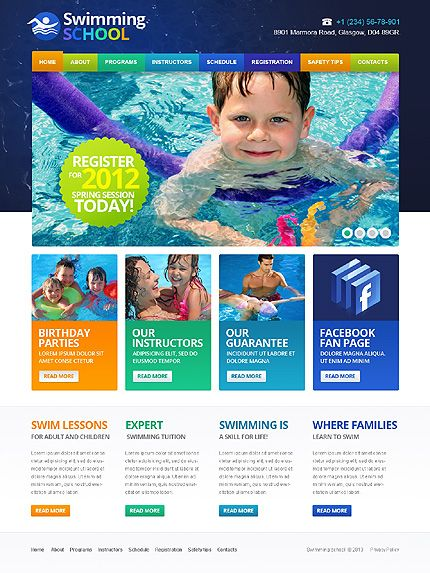 Swimming Swim Website Templates by Hermes