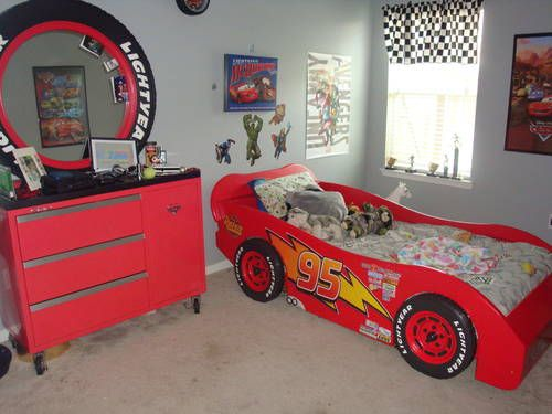 Lightning McQueen race car bed and a toolbox dresser w/ tire mirror