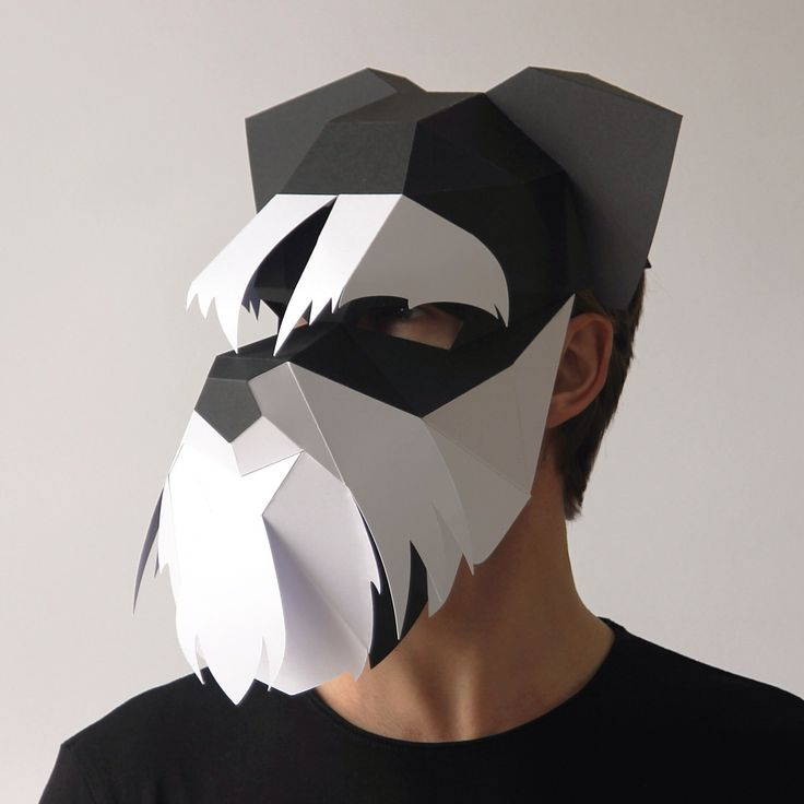 DOG Mask - Build your own Schnauzer 3D dog mask from card, using this PDF mask template by Ntanos on Etsy https://www.etsy.com/listing/505469047/dog-mask-build-your-own-schnauzer-3d-dog