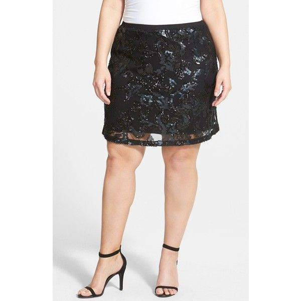 Dantelle Sequin Short Skirt ($50) ❤ liked on Polyvore featuring plus size fashion, plus size clothing, plus size skirts, plus size mini skirts, plus size, mini skirt, womens plus size skirts, sequin mini skirt and plus size short skirts