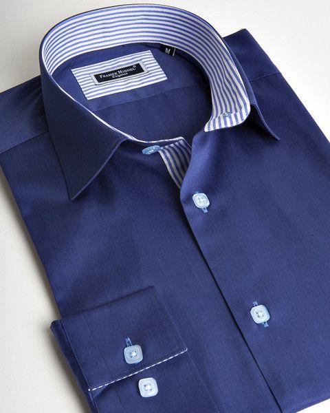 Franck Michel shirt | Dark blue italian shirt for men with contrasting striped lines | fashion-shirts.com