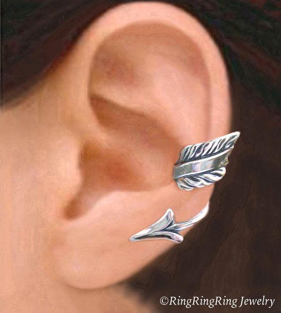 Arrow ear cuff Sterling Silver earrings Arrow by RingRingRing