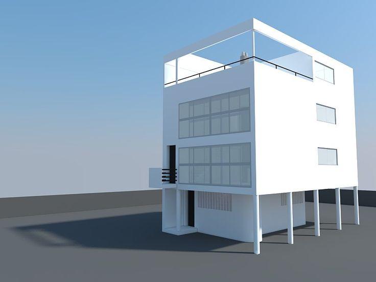 Maison citr han in 3d sketchup le corbusier for Plan maison sketchup