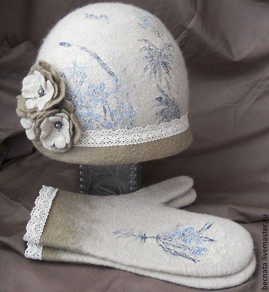 Комплекты аксессуаров ручной работы. Ярмарка Мастеров - ручная работа. Купить Шляпка и варежки 'Винтажные мотивы...'. Handmade.