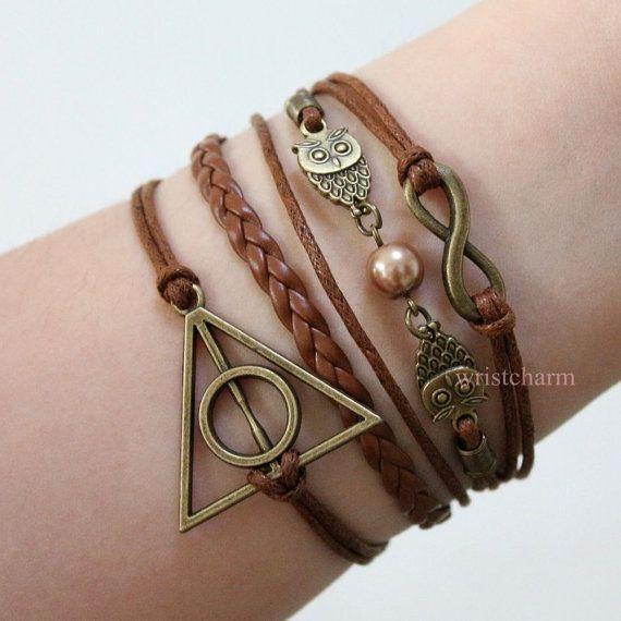 OMG I NEED THIS  Harry potter friendship bracelet - infinity - golden pearl bracelet - bronze owl bracelet - friends gifts on Etsy, $4.99