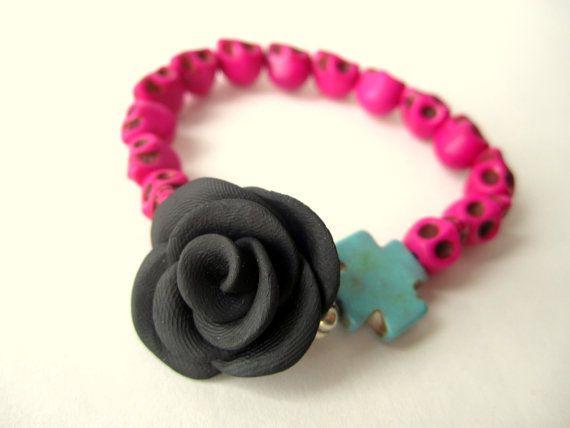 Flower skull bracelet chunky bracelet Day by BohemianHooksJewelry, $12.00