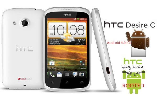 How to Root HTC Desire C Android 4.0 ICS with Superboot. http://techdraginfo.blogspot.com/2012/09/how-to-root-htc-desire-c-android-40-ics.html