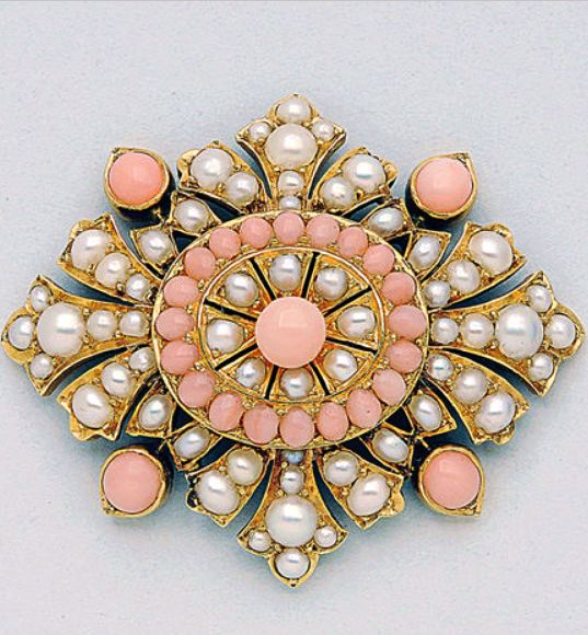 Antique Coral, Split Pearl and 14K Gold Pendant/Brooch, circa 1890 split pearls not tested for natural