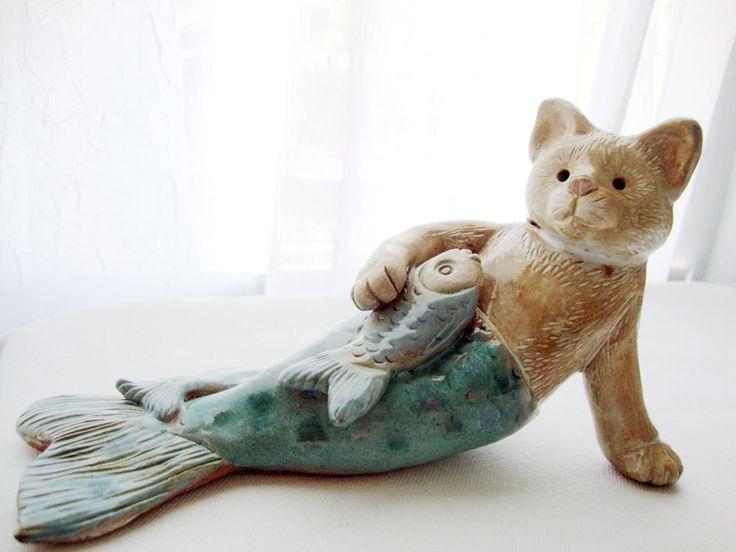 Funny Cat Mermaid Sculpture, Seconds, Fresh Catch, original handbuilt ceramic figurine. $36.00, via Etsy.