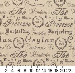 J9400D Grey Vintage Script Linen Woven Designer Decorative Novelty Upholstery Fabric By The Yard