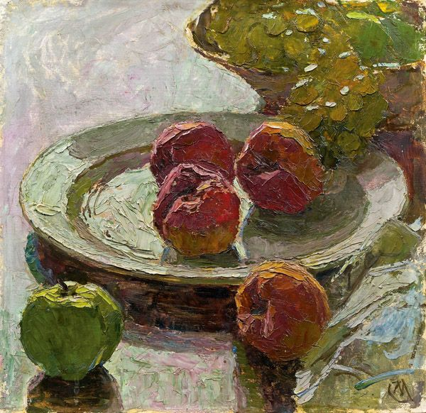 "Carl Moll (Austrian, 1861 - 1945) - ""Stillleben mit Äpfel und Trauben"" (Still life with apples and grapes)"