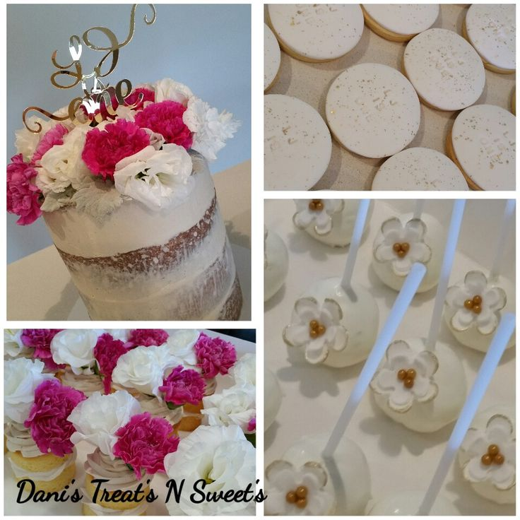 Fresh flowers on high cake with matching cake pops, gold speck cookies and naked cakes