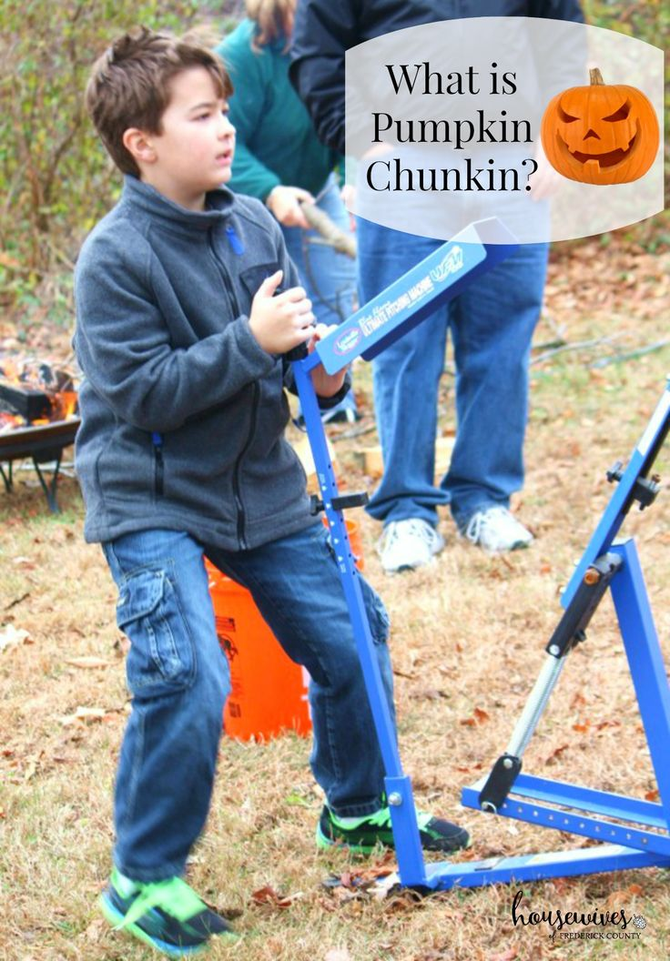 What is Pumpkin Chunkin & How to Host Your Own Event. Have you ever wondered what pumpkin chunkin is? Have you seen the huge worldwide event on TV? It's a competition of what device you'll use to chuck your pumpkin to see who can get it to go the furthest. Great event for boys!