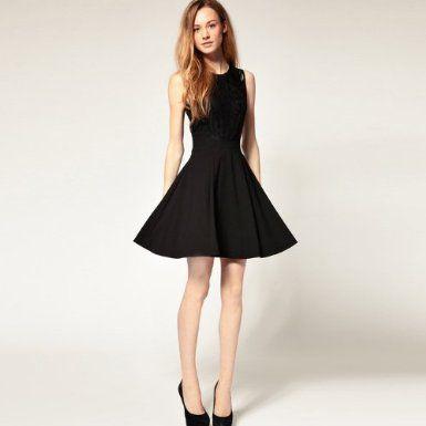 Amazon.co.jp: Share of happiness(シェアオブハピネス) 結婚式 デート 黒レース Aライン ワンピース ノースリーブ ドレス: 服&ファッション小物