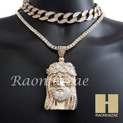"Hip Hop Iced Out Gold Jesus Face Pendant 16"" Iced Out Choker 18"" Tennis Chain 6"