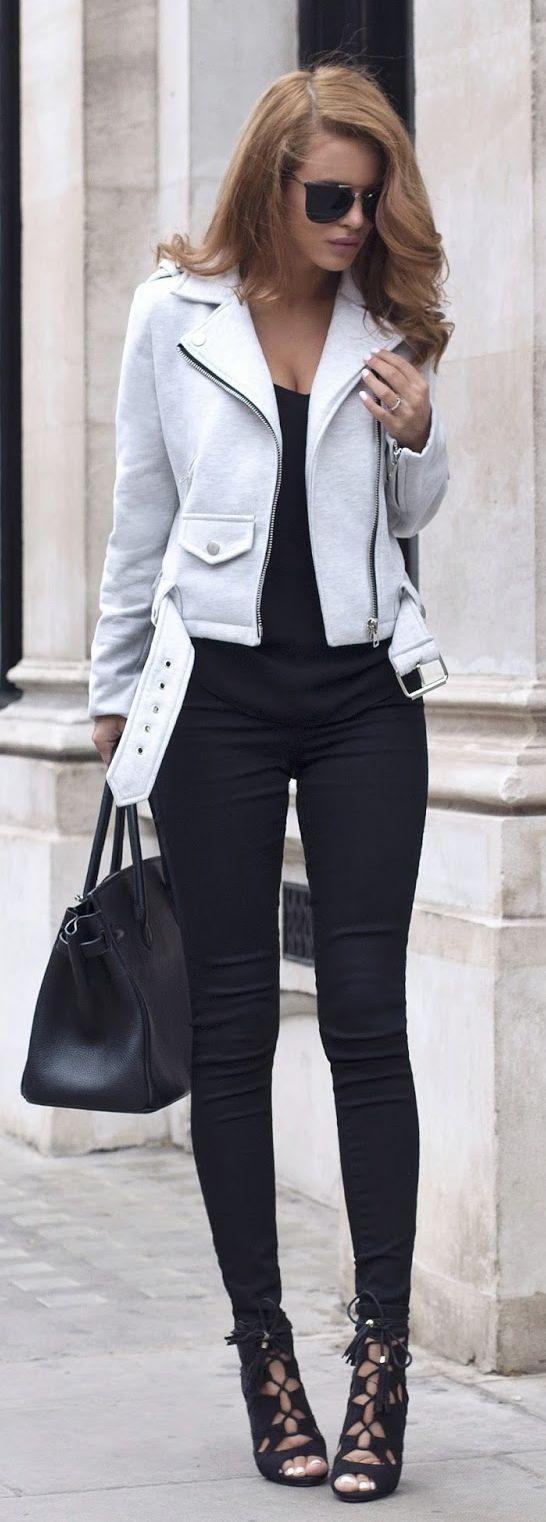 Grey Biker Casual Chic Style by Nada Adellè • Street 'CHIC • ❤️ ✿ιиѕριяαтισи❀ #abbigliamento