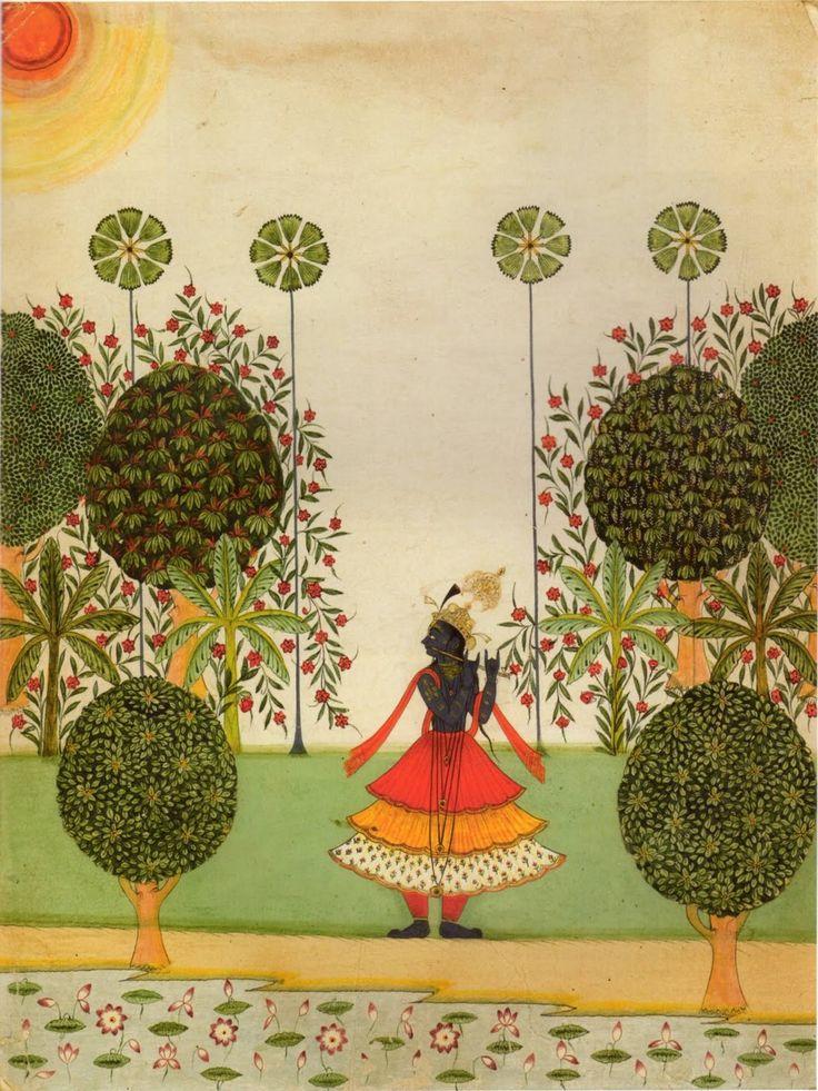 Lord Krishna in a Garden