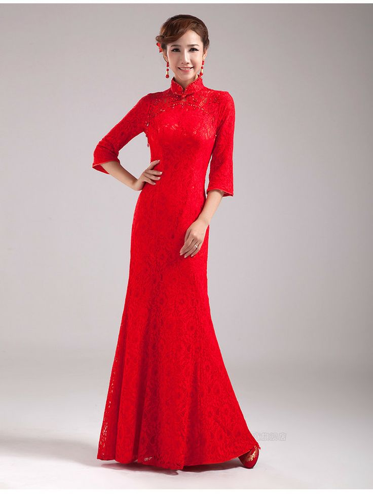 23 best images about cheongsam on pinterest lace red for Asian red wedding dresses
