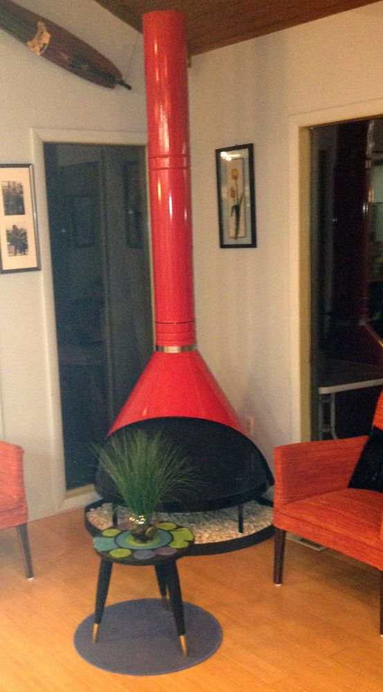 Mid Century Modern Cherry RED PREWAY Retro Cone Freestanding Fireplace malm