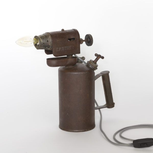 Blowtorch. Vintage table lamp made from Barthel blowtorch.