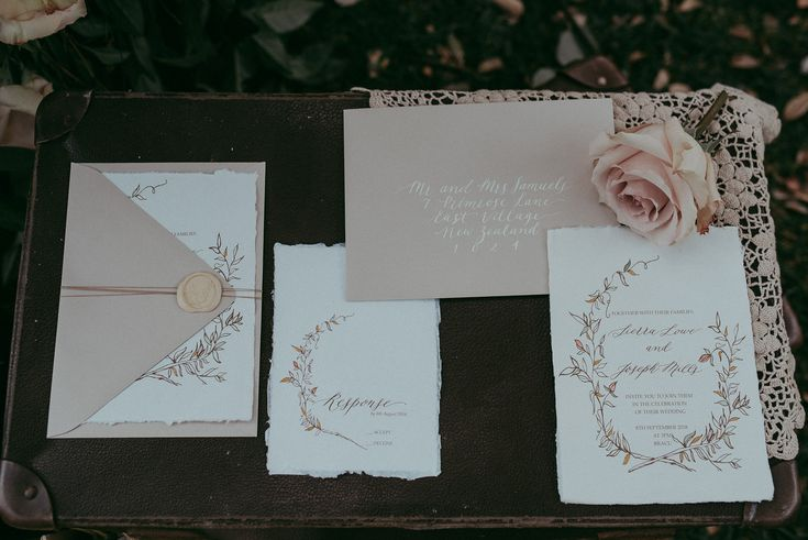 Calligraphy and Botanical floral Wedding Invitation Suite – Inkberry Calligraphy